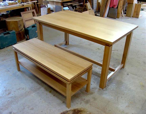 ナラのテーブル+ベンチ_f0171785_16104162.jpg