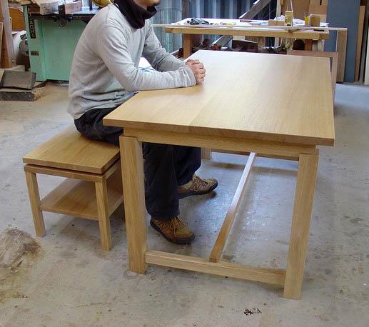 ナラのテーブル+ベンチ_f0171785_1616245.jpg