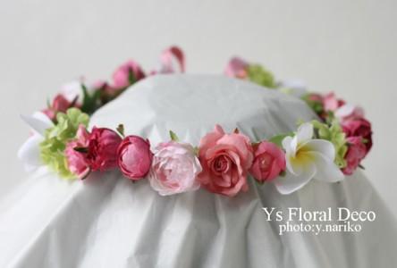 プルメリアをいれたピンクの花冠とリストレット ハワイのおふたりに_b0113510_1716441.jpg