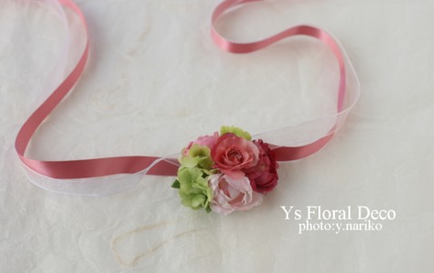 プルメリアをいれたピンクの花冠とリストレット ハワイのおふたりに_b0113510_17165235.jpg