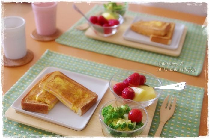 Hot Egg Sand -cheese & bacon- の あさごはん♪_f0179404_10413061.jpg