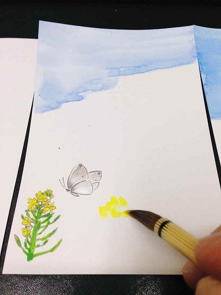 /// 二十四節季の清明のお礼状「菜の花」を画きました ///_f0112434_23275938.jpg