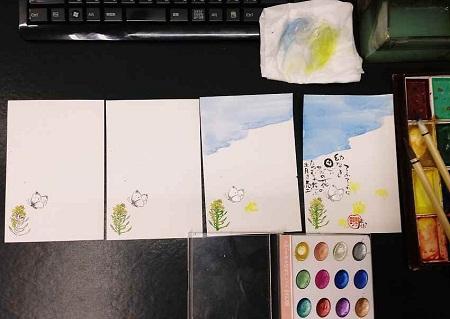 /// 二十四節季の清明のお礼状「菜の花」を画きました ///_f0112434_2328263.jpg