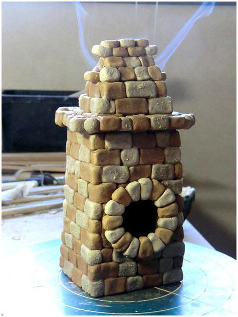 陶 芸 作 品 (香炉・・・ レンガ造りの小屋もどき成形 ) _b0104092_12133750.jpg