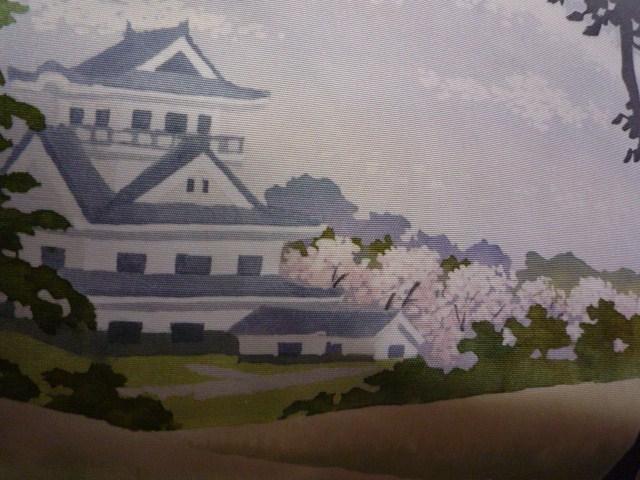 締め忘れるところだった、お城に桜の染め帯。_f0181251_13281089.jpg