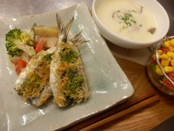 3/27晩ごはん:真イワシのグリル&温野菜バーニャカウダ_a0116684_19393352.jpg