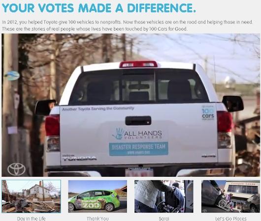 米国トヨタの社会貢献プログラム、100 Cars for Good_b0007805_2275769.jpg