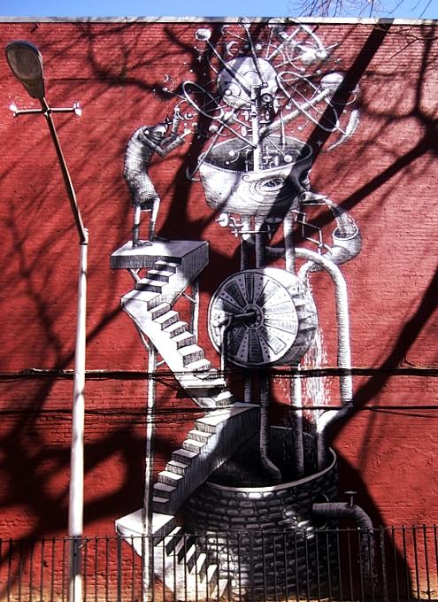 NYの名も無き公園の壁に、Phlegmさんの超巨大ストリート・アート_b0007805_9312556.jpg