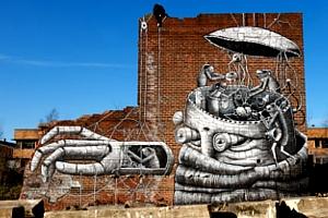 NYの名も無き公園の壁に、Phlegmさんの超巨大ストリート・アート_b0007805_9998.jpg