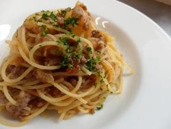3/31本日のパスタ:キタアカリのスパゲティ・ボロネーゼ_a0116684_11372526.jpg