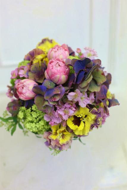 一会定期スクール3月 春の花木のブーケ1 コンパクトなブーケ編_a0042928_18124990.jpg