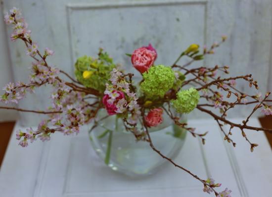 一会定期スクール3月 春の花木のブーケ1 コンパクトなブーケ編_a0042928_18424863.jpg
