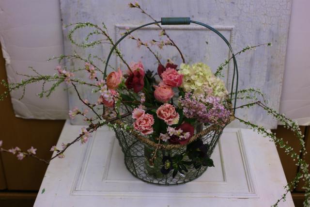 一会定期スクール3月 春の花木のブーケ1 コンパクトなブーケ編_a0042928_18431992.jpg