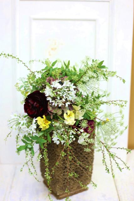 一会定期スクール3月 春の花木のブーケ1 コンパクトなブーケ編_a0042928_1843470.jpg