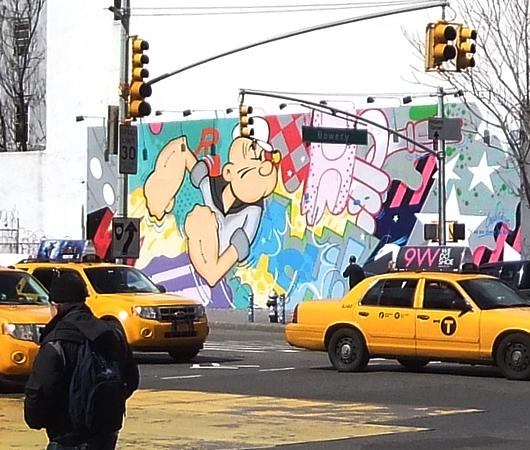 NYの街角アート、お馴染みのバウリー壁画は今ポパイ_b0007805_184426.jpg
