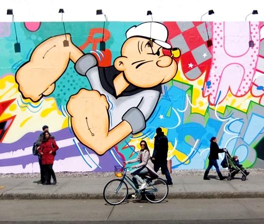 NYの街角アート、お馴染みのバウリー壁画は今ポパイ_b0007805_185585.jpg
