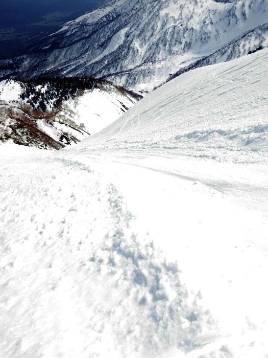 デブリとストップ雪の金山沢_e0292469_17471569.jpg