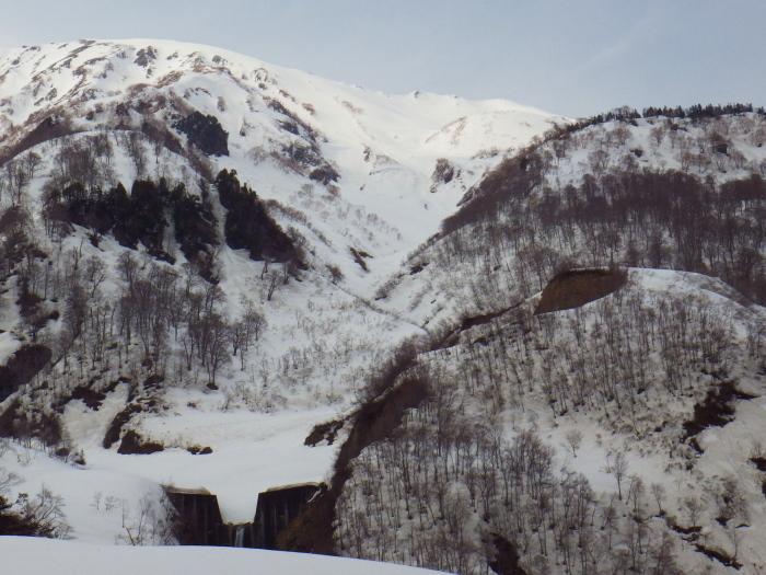 デブリとストップ雪の金山沢_e0292469_1755182.jpg