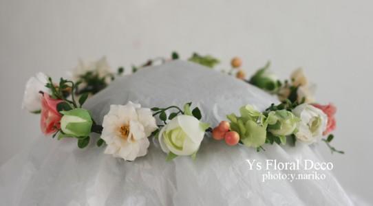 お色直しに白いウェディングドレス 花冠とクラッチブーケ_b0113510_19341442.jpg