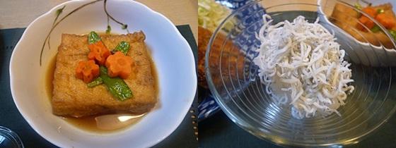 鶏ひき肉のつくねと厚揚げの煮物、しらすおろしの家ごはん_b0175688_22415780.jpg