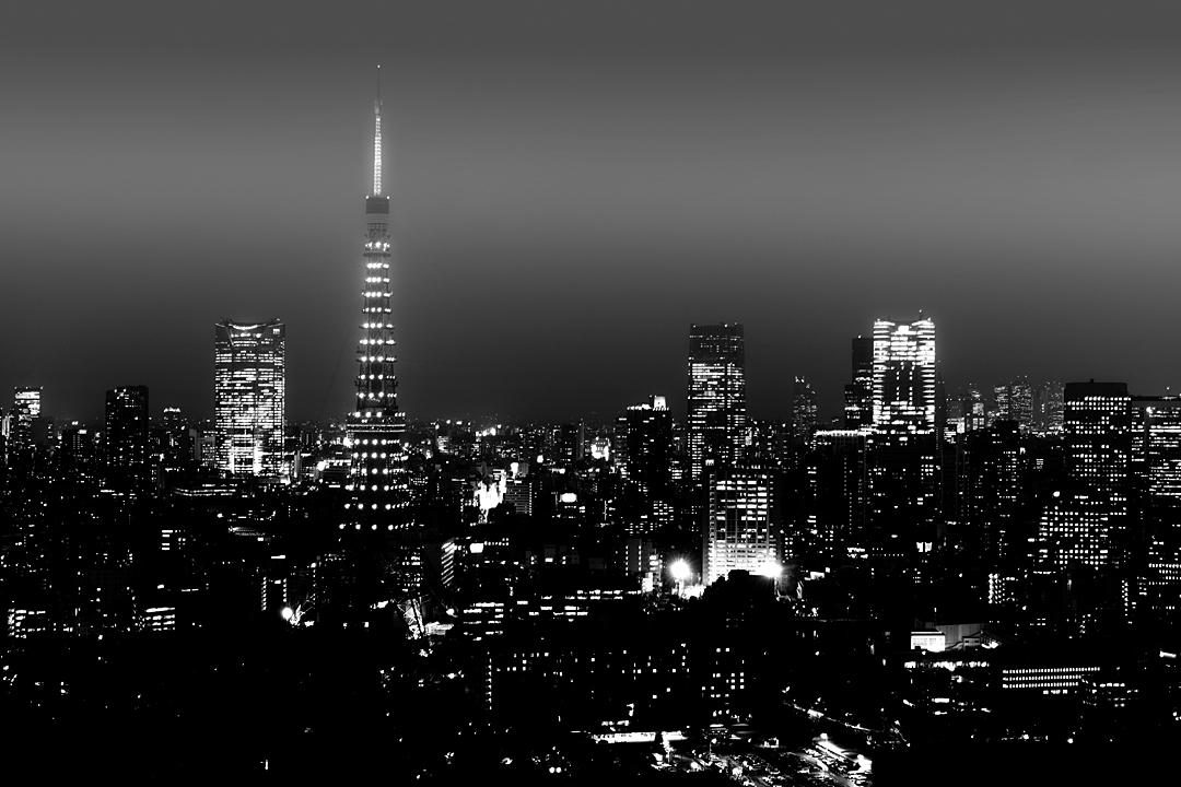 都会の夜景も白黒に。