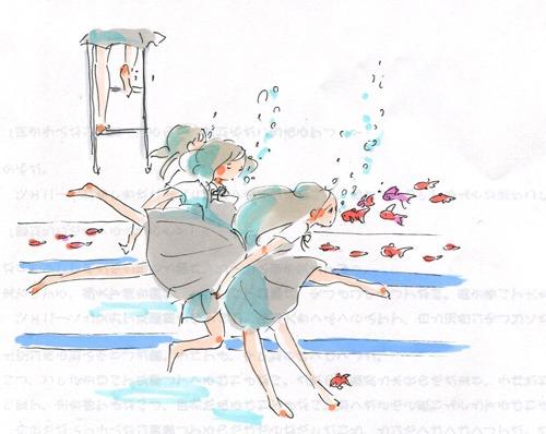 女子中学生が金魚をプールに_a0026616_2234835.jpg