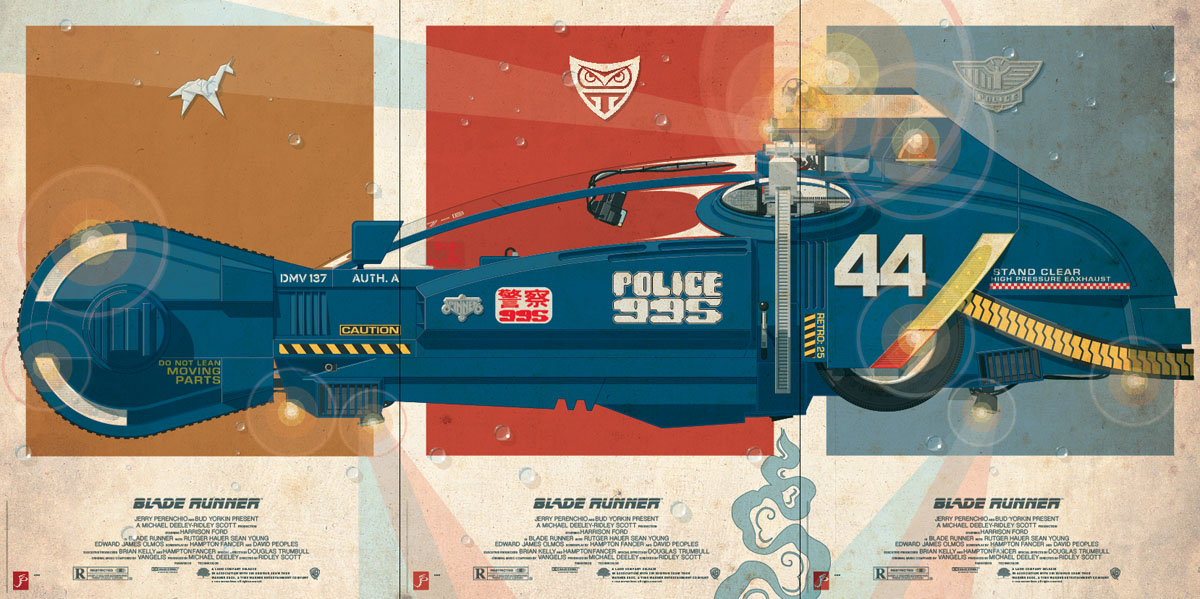 """Blade Runner Police Spinner\"" Triptych by Jakob Staermose_c0155077_1525216.jpg"