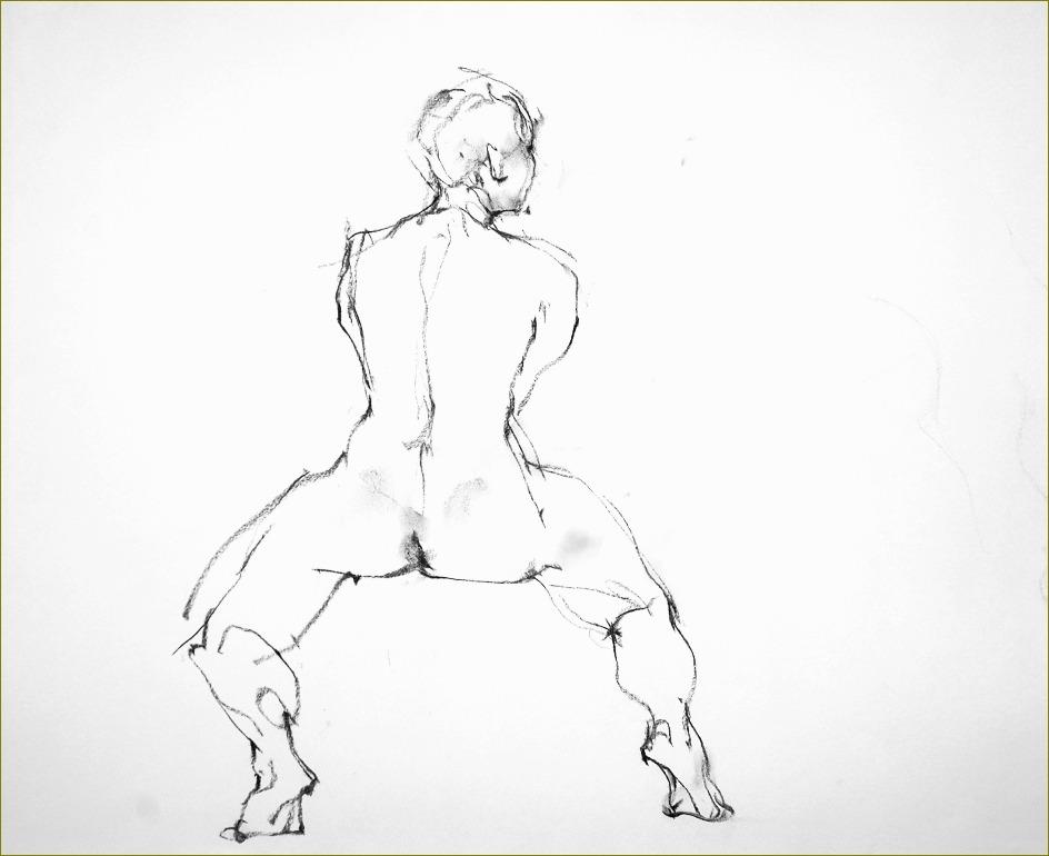 《 裸婦クロッキー ・・・ 「容」からくる「線」 》_f0159856_17424178.jpg