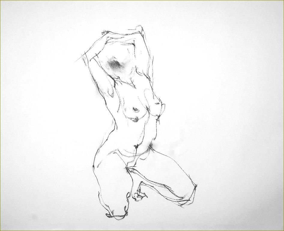 《 裸婦クロッキー ・・・ 「容」からくる「線」 》_f0159856_17431629.jpg