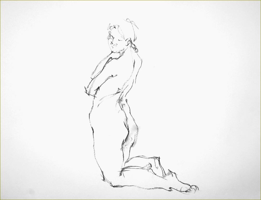 《 裸婦クロッキー ・・・ 「容」からくる「線」 》_f0159856_1743415.jpg