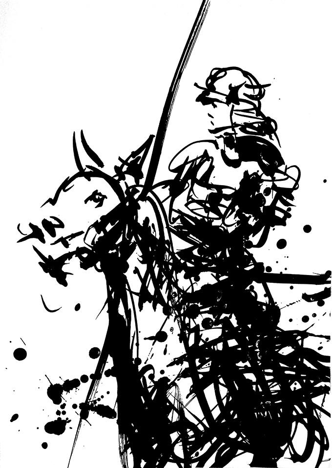 馬に跨る侍。