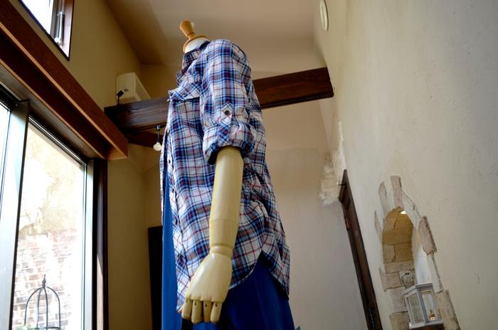 """""""人気インナーをレイヤードにシャーリングシャツを羽織る大人マキシワンピ""""_d0153941_11544938.jpg"""