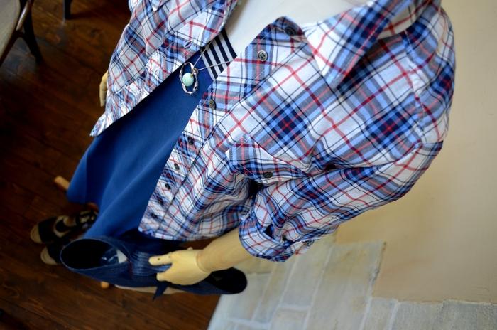 """""""人気インナーをレイヤードにシャーリングシャツを羽織る大人マキシワンピ""""_d0153941_1155015.jpg"""