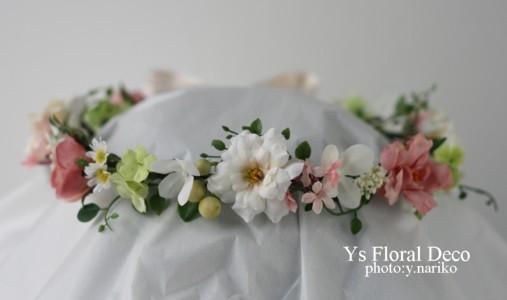 白とピンク クラッチブーケと花冠 愛知へ_b0113510_23415014.jpg