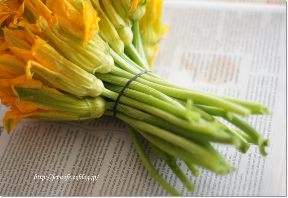 蕗にみたてて ズッキーニの花の茎_a0254243_5593452.jpg