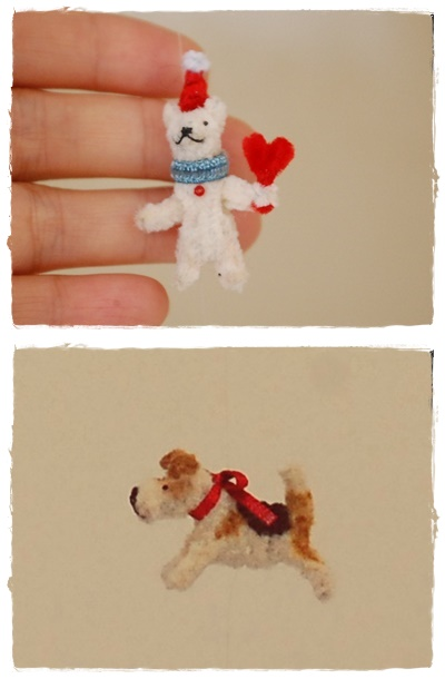 小さなテリアとクマのモビール  Tiny wire fox terrier and bear mobile_a0205848_17582610.jpg