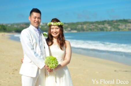 緑色の花冠&ブートニア バリ島挙式のおふたりへ_b0113510_1715089.jpg