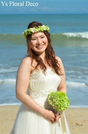 緑色の花冠&ブートニア バリ島挙式のおふたりへ_b0113510_17151553.jpg