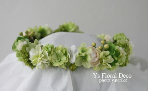 緑色の花冠&ブートニア バリ島挙式のおふたりへ_b0113510_17155448.jpg