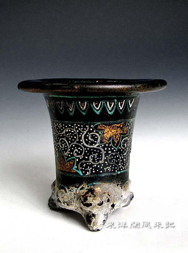 京楽焼鉢「短冊屋万年青鉢」             No.1291_d0103457_214011.jpg