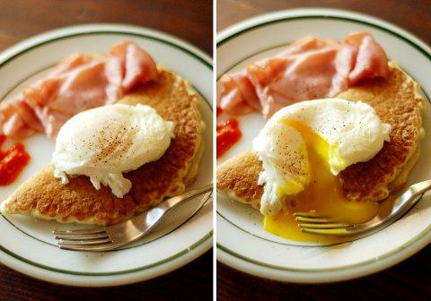 オットの、ポーチドエッグの朝食プレート_b0253205_348354.jpg