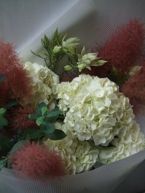 オークリーフ(紅いスモークツリーと白い紫陽花の花束)_f0049672_14273073.jpg