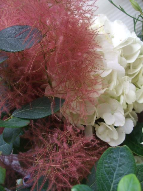 オークリーフ(紅いスモークツリーと白い紫陽花の花束)_f0049672_14293581.jpg
