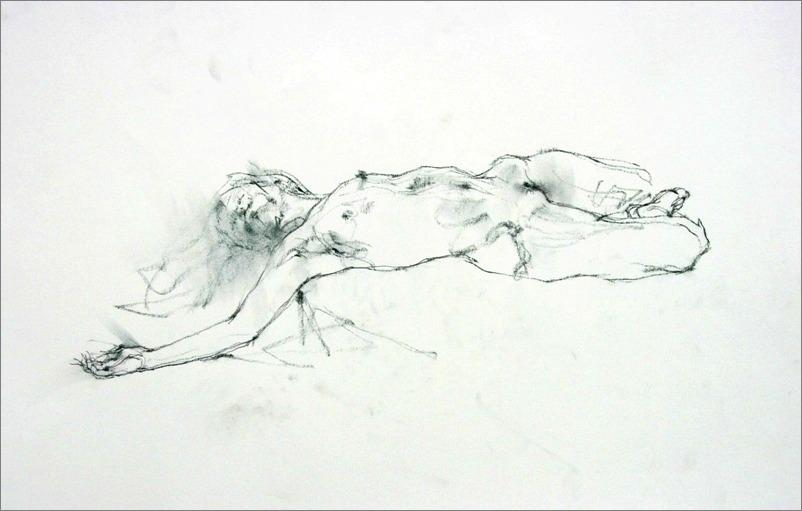《 裸婦素描 ・・・ 膝を折り両手を伸ばし仰向くポーズ その Ⅱ 》_f0159856_2282186.jpg