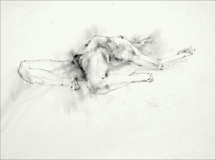 《 裸婦素描 ・・・ 膝を折り両手を伸ばし仰向くポーズ その 4 》  _f0159856_20522732.jpg
