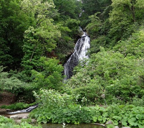 小坂の七滝と側を流れる川、少しの茅葺き民家など_a0136293_14432199.jpg