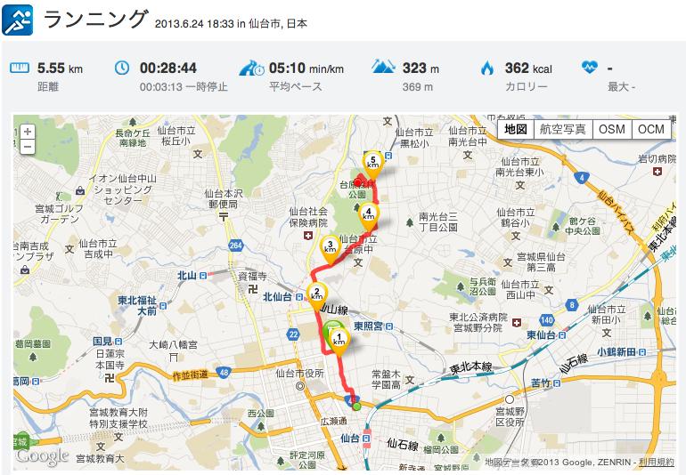 仙台 疲労回復ジョグ「11km」_c0067646_5531158.png