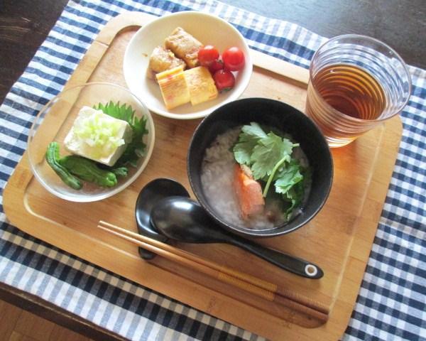 6.25 木綿豆腐の肉巻き・シャケ弁当と朝粥_e0274872_757577.jpg