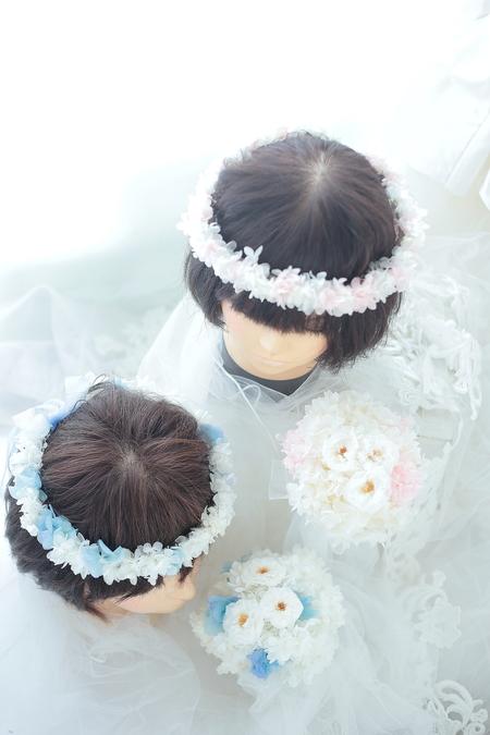 リングガール、フラワーガール用の花冠 プリザーブドのアジサイで 椿山荘東京様へ _a0042928_21564680.jpg