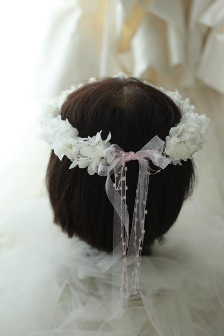 リングガール、フラワーガール用の花冠 プリザーブドのアジサイで 椿山荘東京様へ _a0042928_220514.jpg